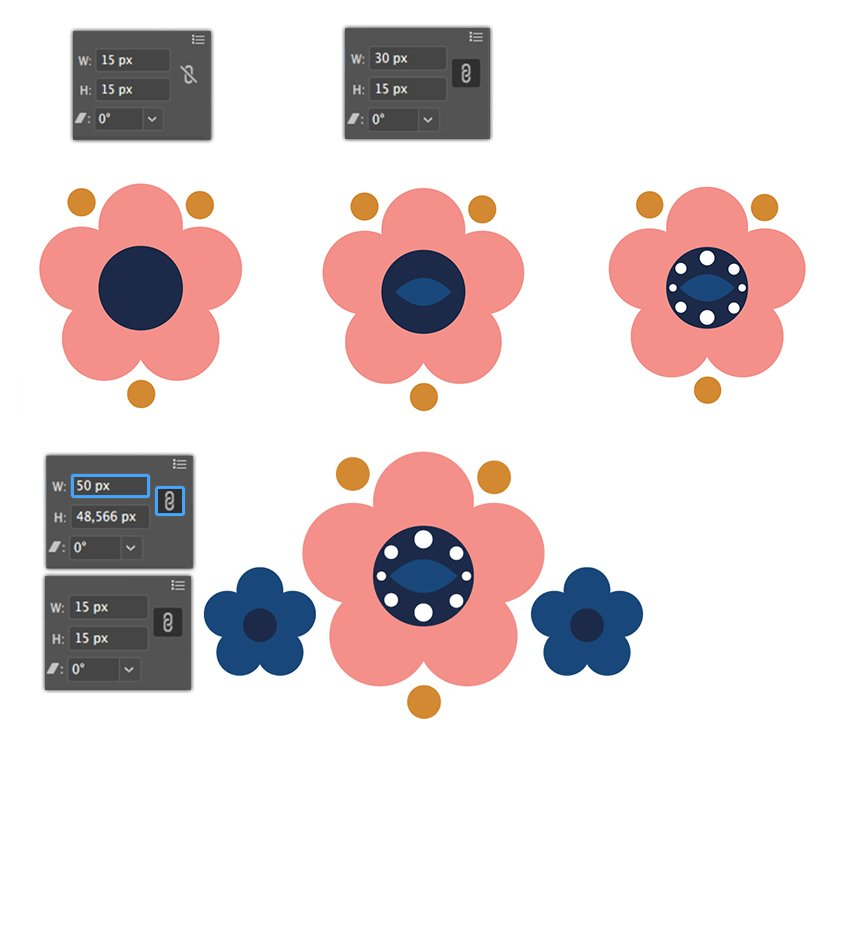 Adding of two small copied flowers