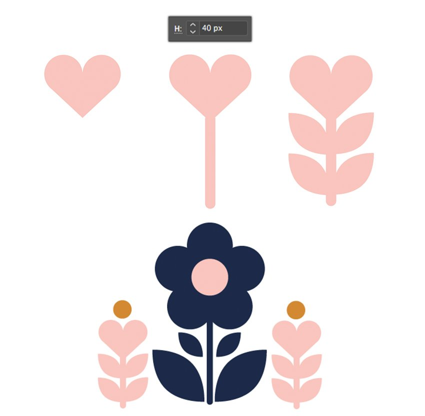 Adding of a pale pink heart-shaped flower with a stem and leaves