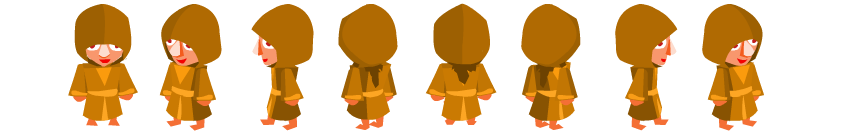 The different frames of the character facing the different directions