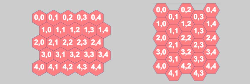 simple hexagonal grid based on level data array