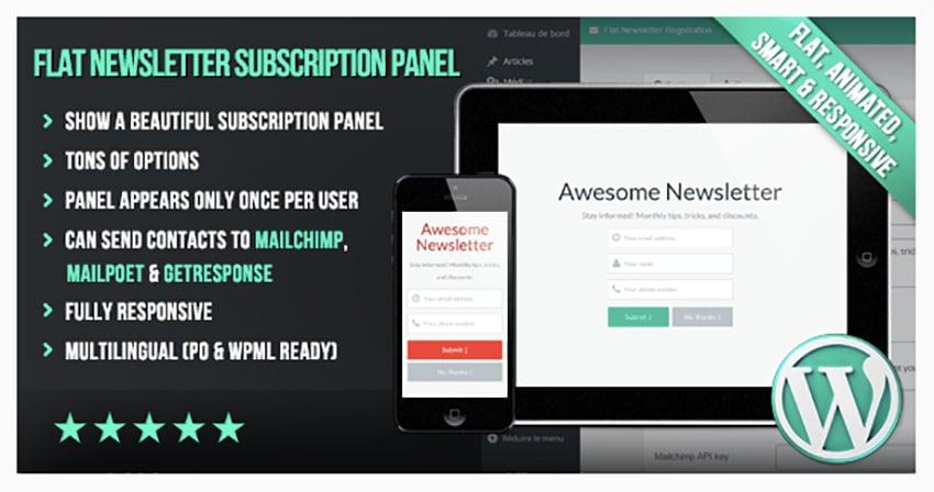 WP Flat Newsletter Subscription Panel