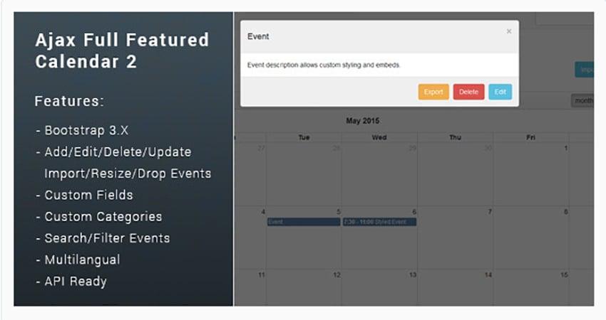 Ajax Full Featured Calendar 2