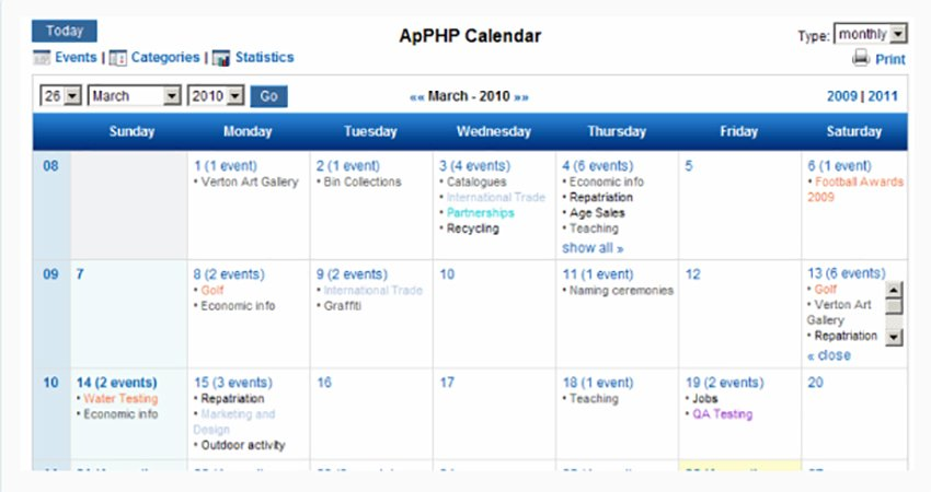 PHP Events Calendar Control