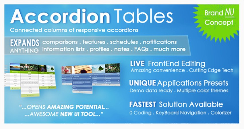 Accordion Tables FAQs Columns and More