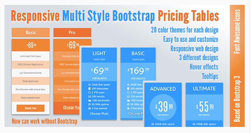 Responsive Multi Style Bootstrap Pricing Tables
