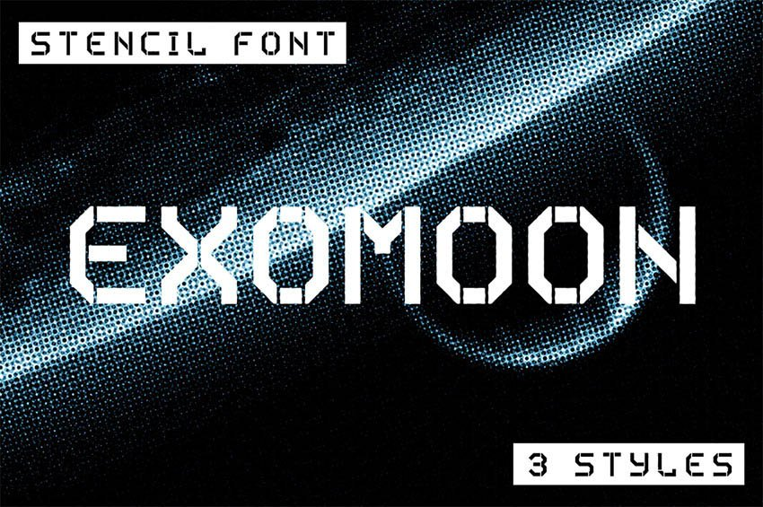 Exomoon Stencil Typeface Fonts