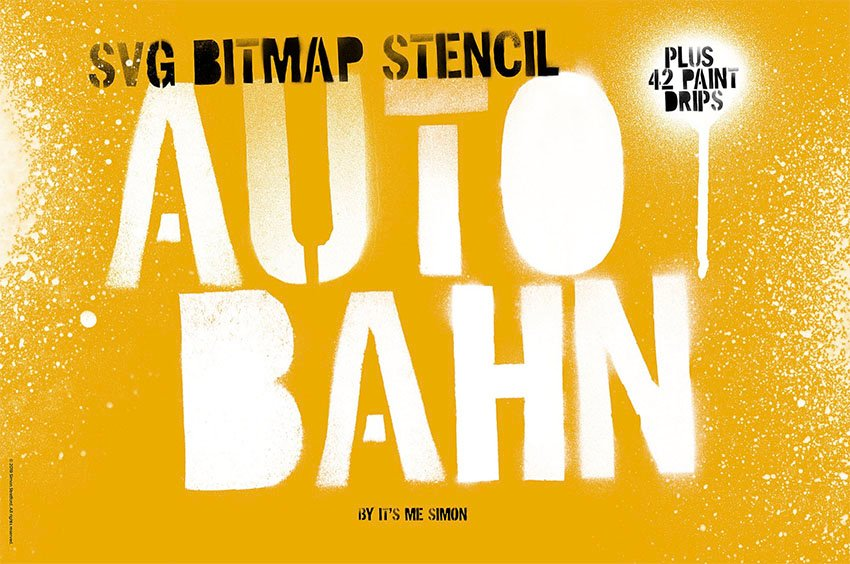Autobahn Spray Paint Stencil Fonts