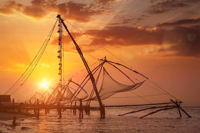 Chinese fishnets on sunset Kochi Kerala India