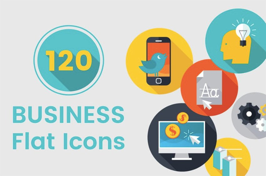 120 Business Flat Icons