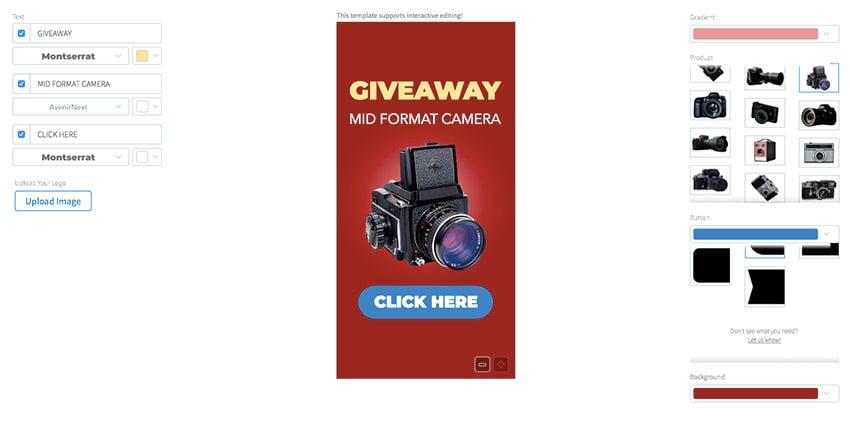 Camera Giveaway Ad Banner Make
