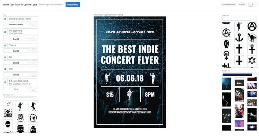Online Flyer Maker for Concert Flyers