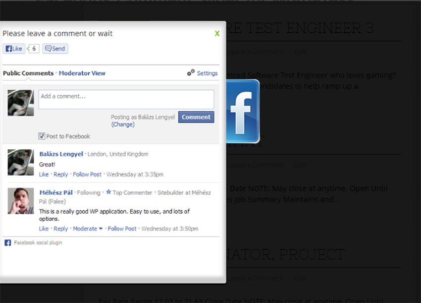 Facebook Comment Slider for WordPress