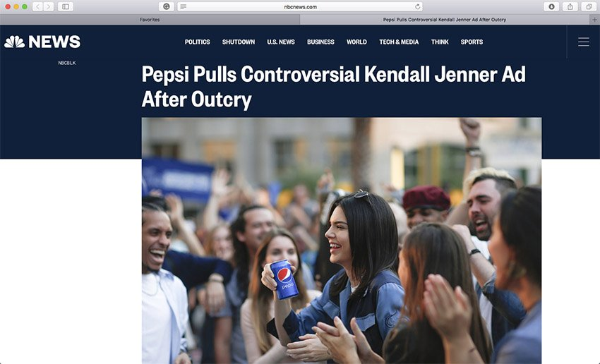 Pepsi Ad featuring Kendall Jenner