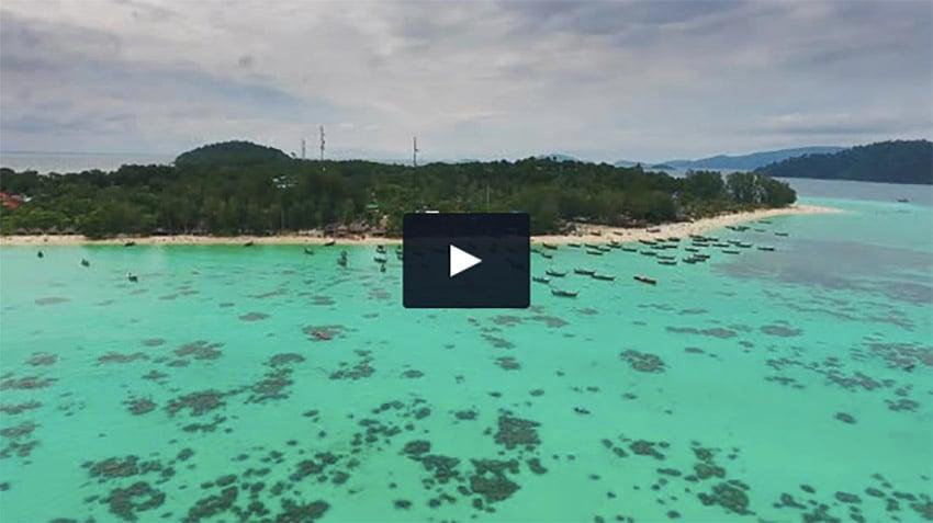 Boats in the Sea Near Tropical Island