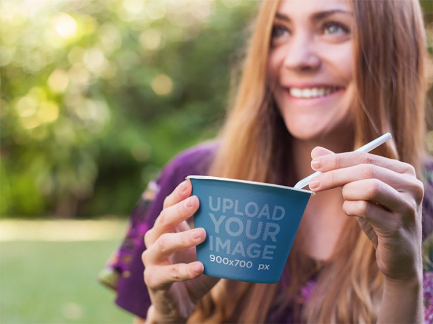 Label Mockup Featuring a Girl Eating a Bowl of Instant Noodle Soup