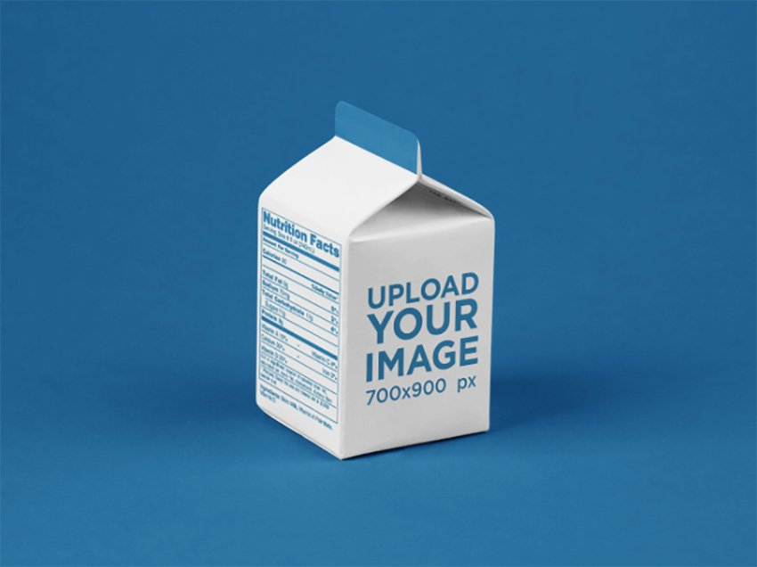 Packaging Mockup Featuring a Juice Box Over a Flat Surface