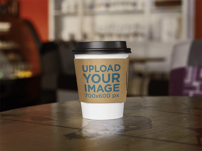 Takeaway Coffee Cup on Wooden Table Label Mockup