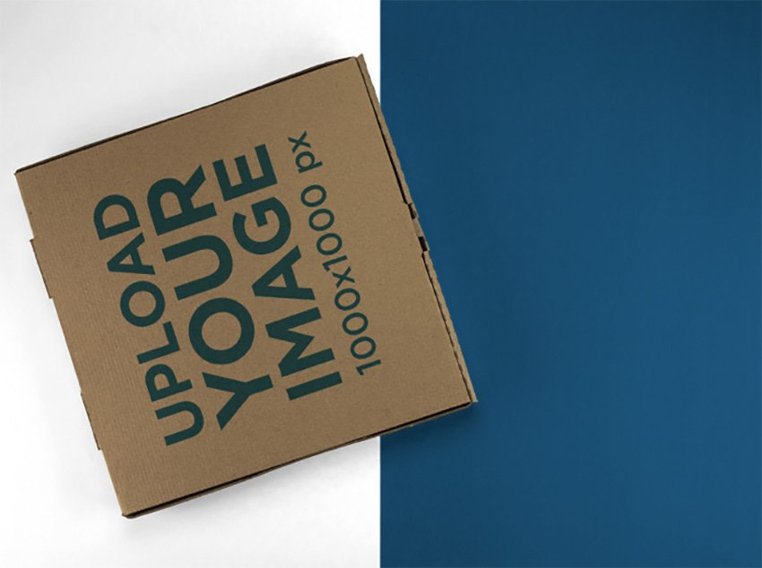 Top Shot Mockup of a Pizza Box Lying on a Two Colors Surface