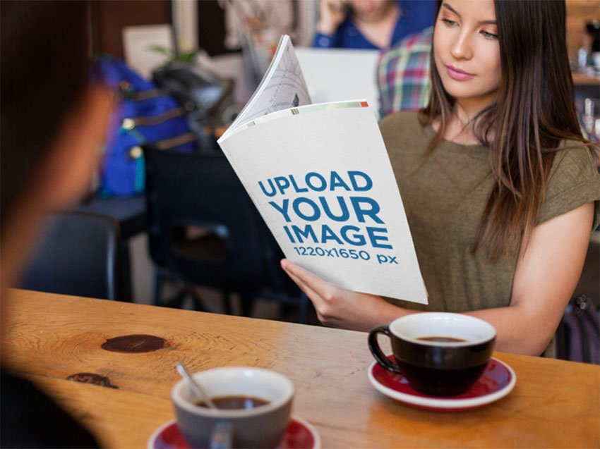 Magazine Cover Mockup with Woman in Cafe