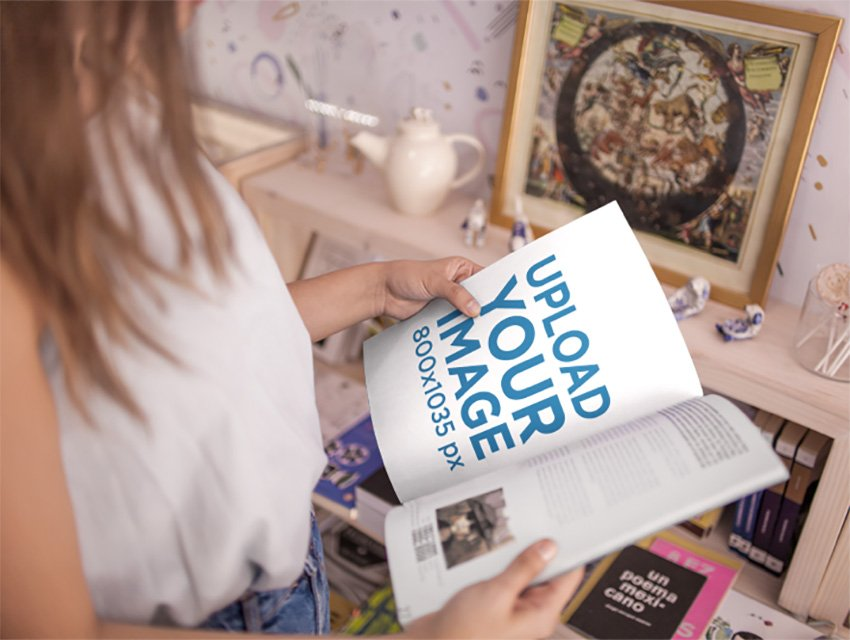 Young Woman Taking a Look at a Magazine While Inside a Store Mockup