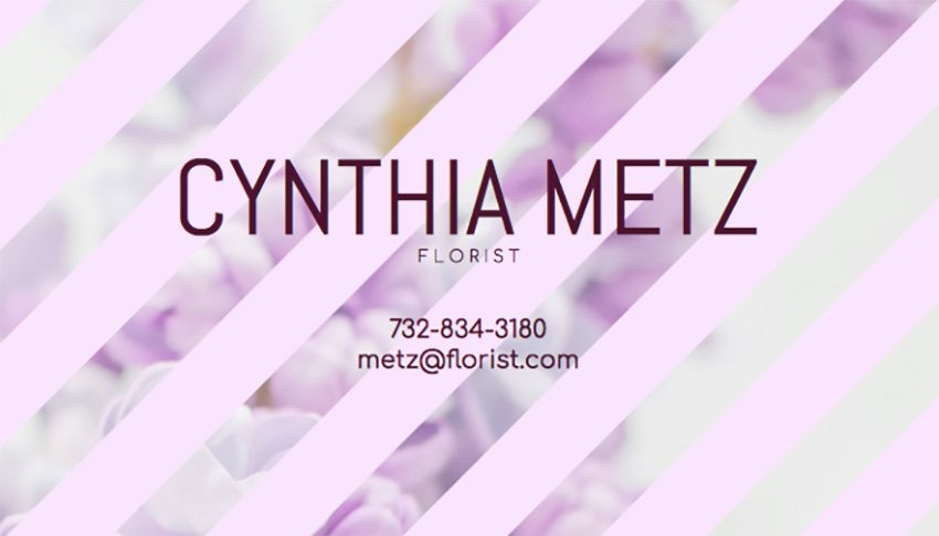 Business Card Maker for Florist with Floral Background
