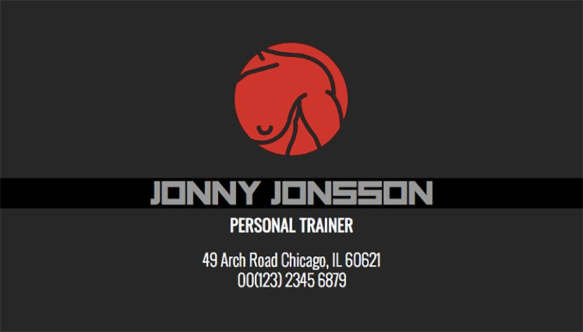 Personal Trainer Business Card Template with Illustrations