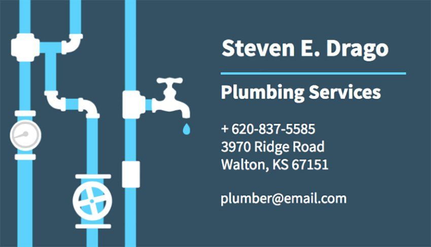 Business Card Template for Plumbers