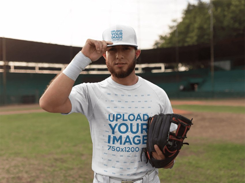 White Man Wearing a Baseball Hat Mockup After the Game