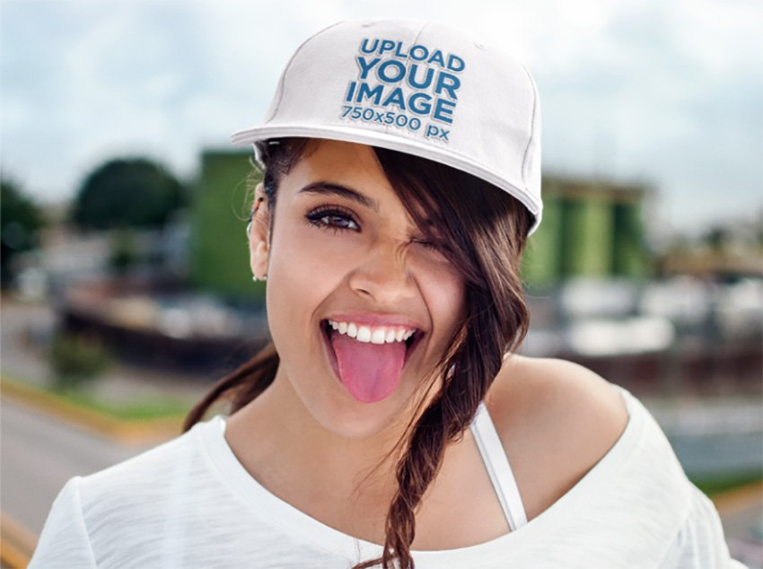 Young Woman Making a Funny Face Hat Mockup