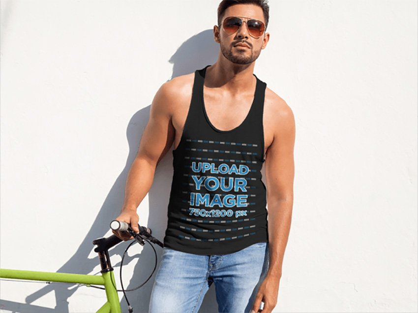 Handsome Man Leaning on a Wall Tank Top Mockup