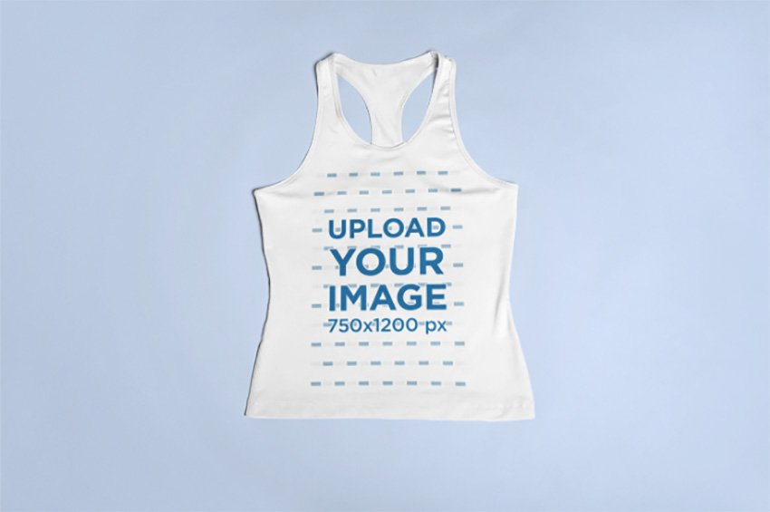 Sports Mockup of a Racerback Tank Top Lying Over a Surface