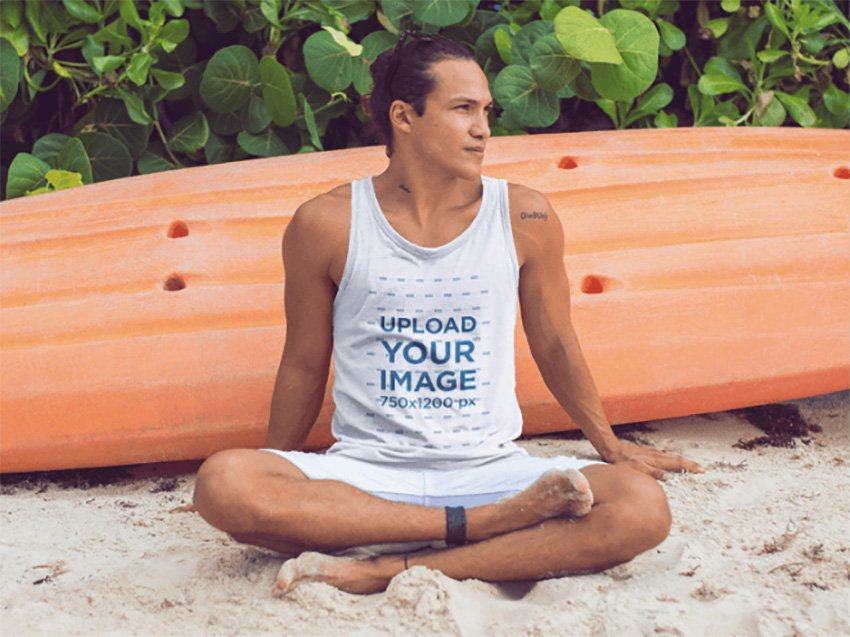 Surfer Guy Sitting in the Sand on the Beach Tank Top Mockup