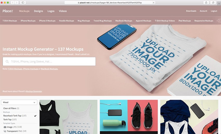 Navigate to Placeits Racerback Tank Top Mockup Page
