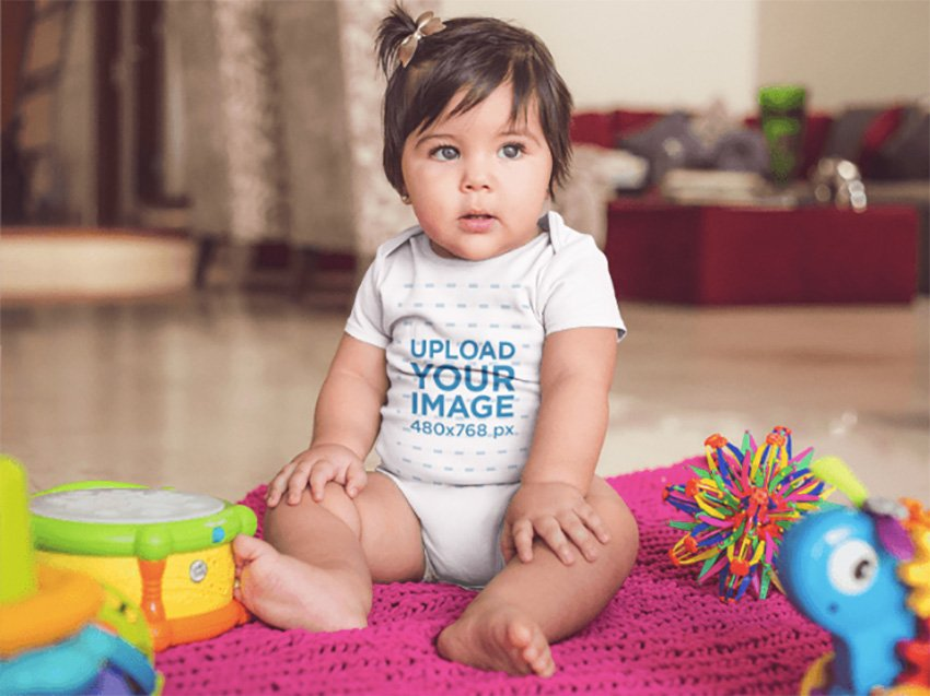 Template Of A Gorgeous White Baby Girl Wearing A Onesie While Sitting At Her House