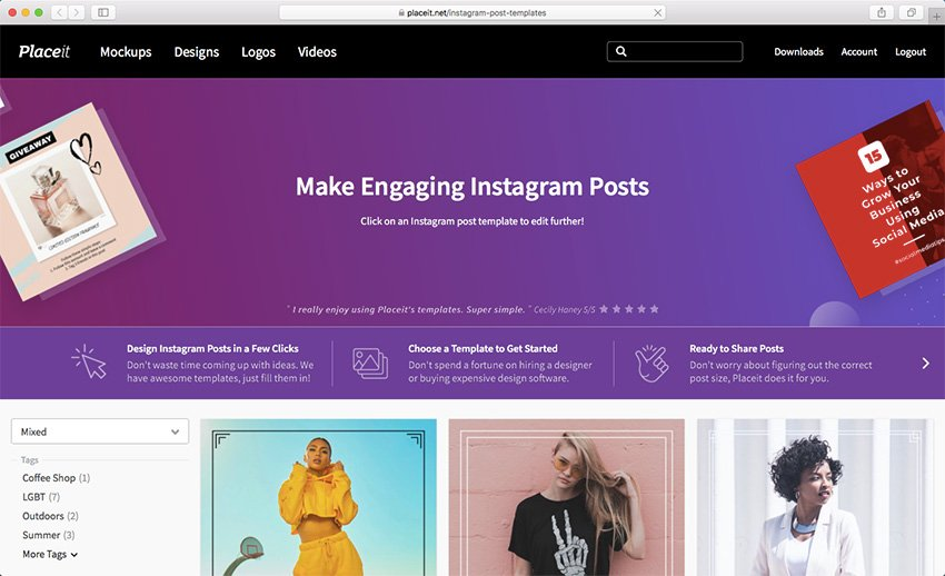 Navigate to the Instagram Post Templates at Placeit
