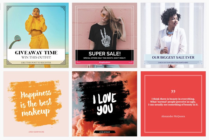 Review fake Instagram post templates on offer and select the one you like the most