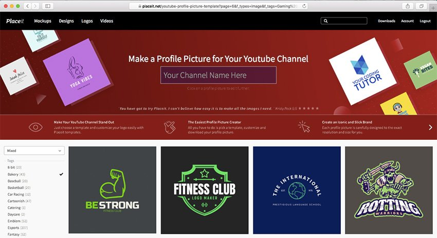 YouTube profile picture maker at Placeit
