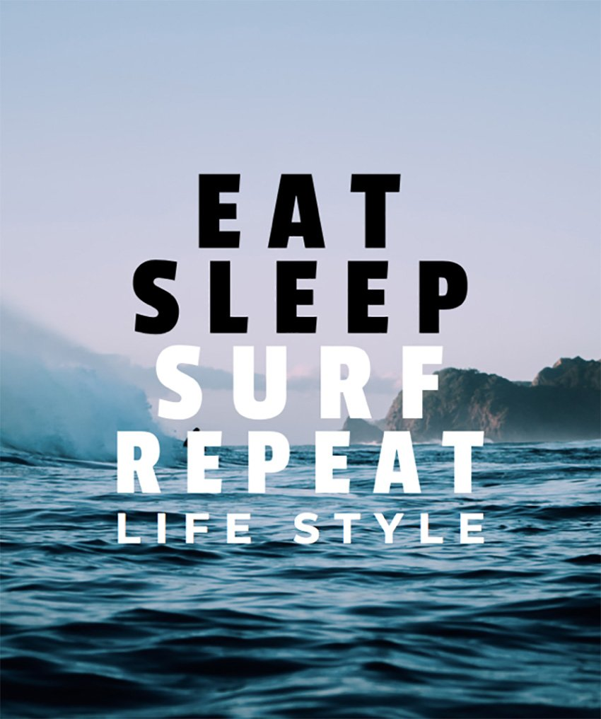 Surf Typography T-Shirt Design Template with Sea Background