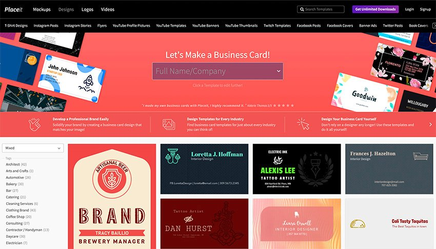 Online Business Card Maker at Placeit