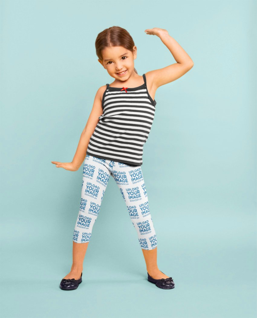 Leggings Mockup Featuring a Little Girl Dancing at a Studio