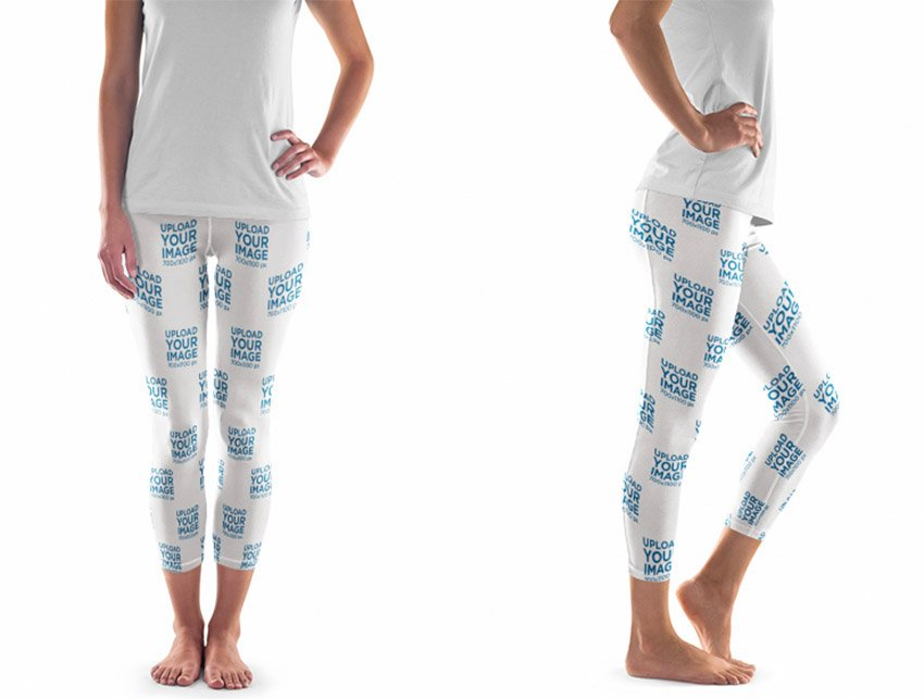Woman in Leggins Over a Flat Backdrop Clothing Mockup