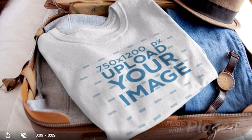 Video of a T-Shirt Inside an Open Suitcase