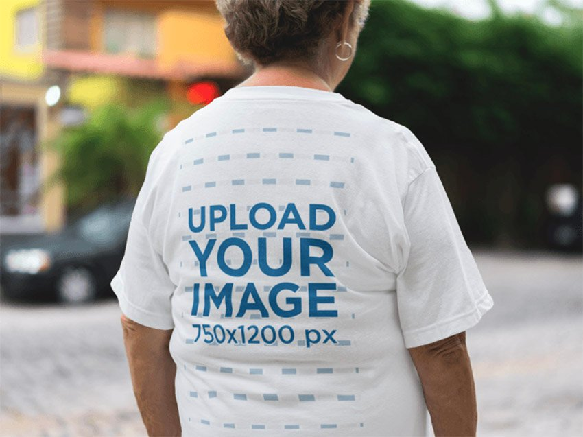 Mockup of an Elder Lady Wearing a Tshirt from the Back