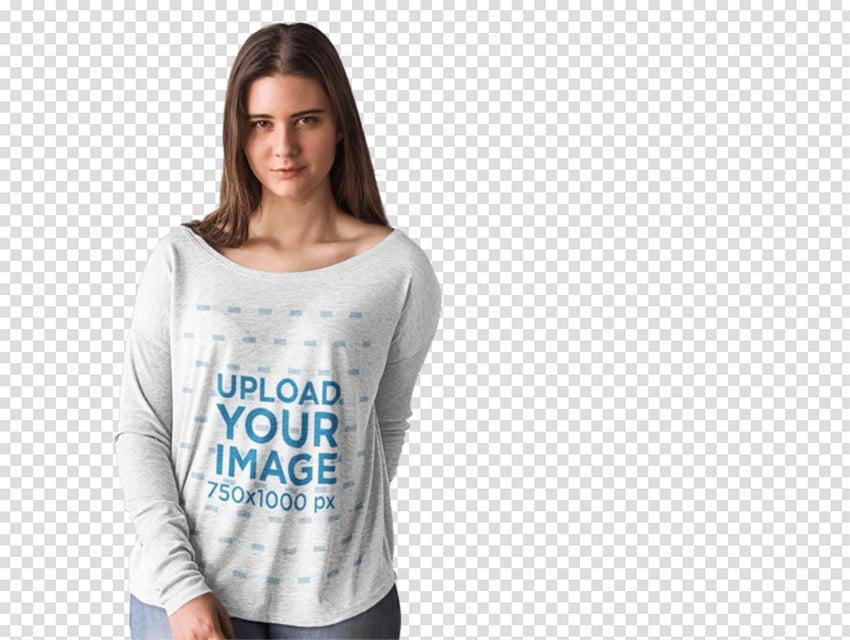 Long Sleeve T-Shirt Mockup of a Woman Modeling