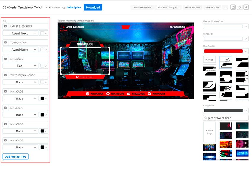 To create OBS stream overlays use the OBS overlay maker to customise the template youve chosen