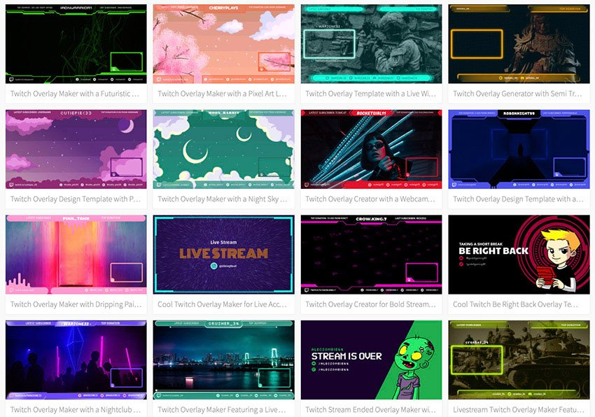 Review the OBS stream overlay templates on offer and select the one you like the most