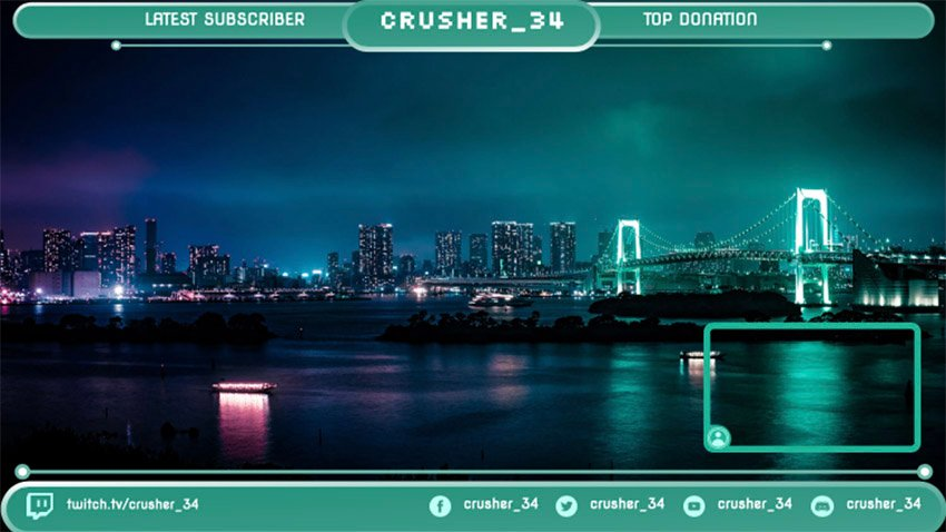 Twitch Overlay Maker Featuring a Live Cam Panel with a Night Skyline
