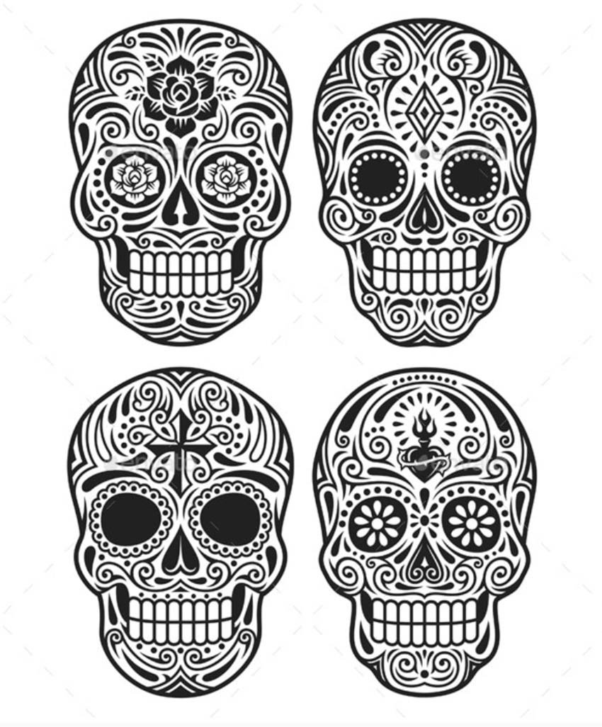 Day of The Dead Skull Vector Set in Black and White