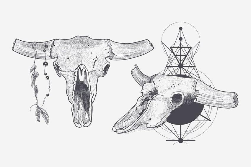 Dotwork Animal Skull