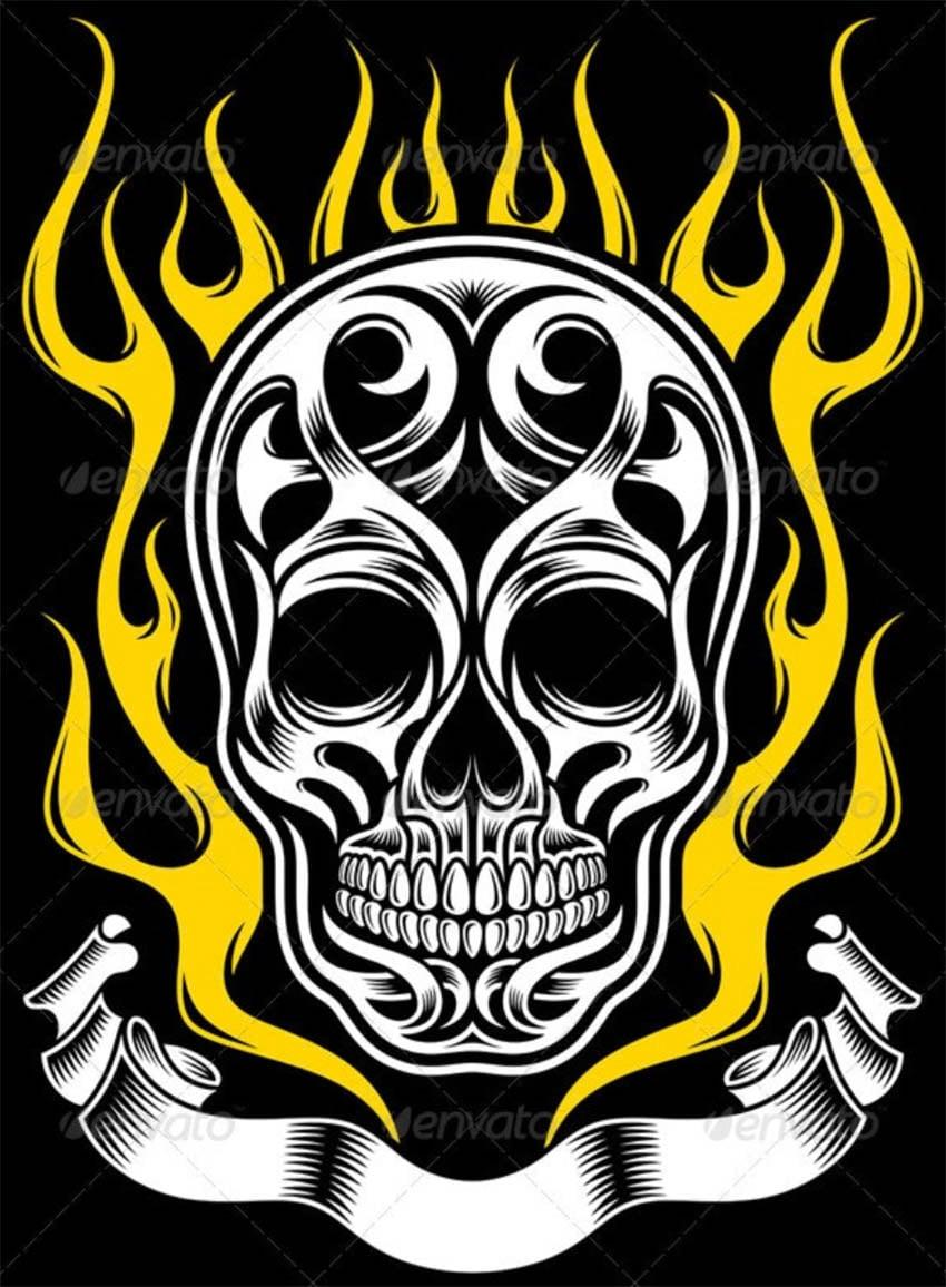 Ornate Flame Skull Tattoo